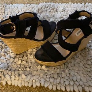 Steve Madden fraid navy wedge sandals